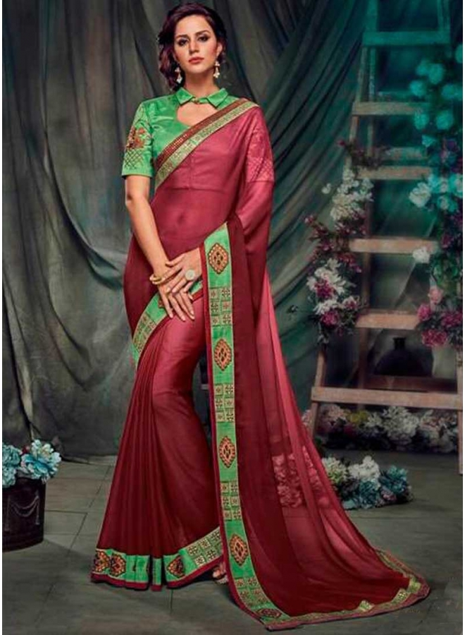 Maroon Perot Embroidery Work Designer Party Wear Saree