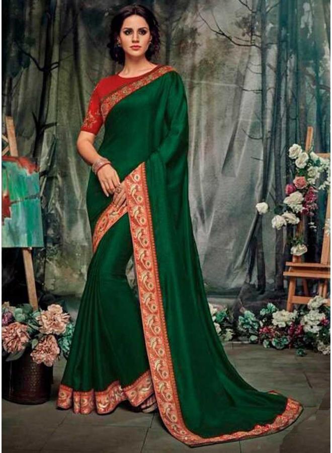 Dark Green Red Embroidery Work Silk Designer Function Wear Saree