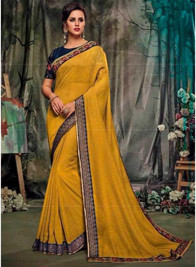 Mustard Navy Blue Embroidery Work Silk Designer Party Wear Saree