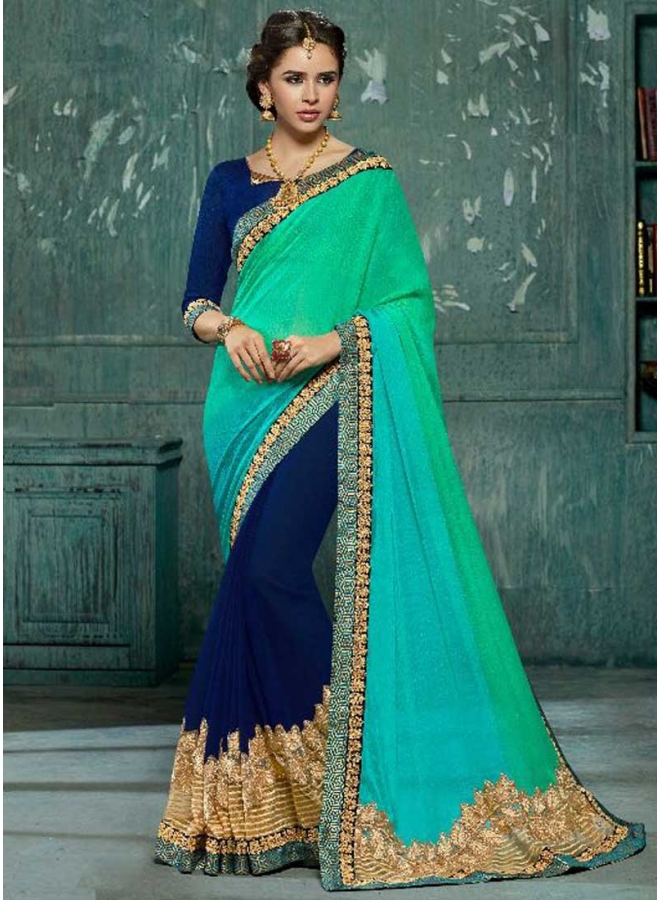 Batli Navy Blue Embroidery Work Georgette Fabric Designer Party Wear Saree