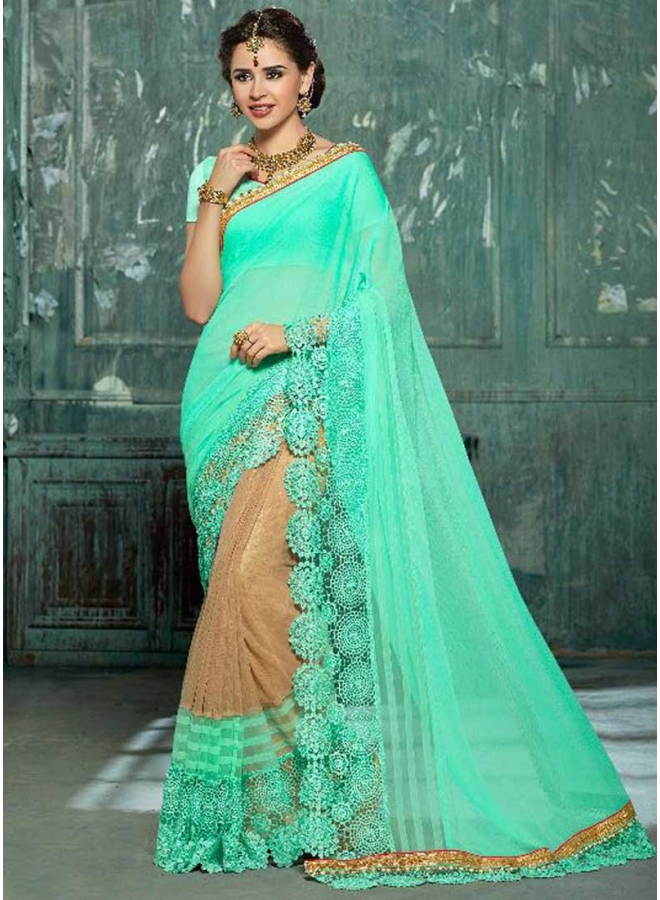 Chikku Batli Half N Half  Embroidery Cut Work Designer Function Wear Saree