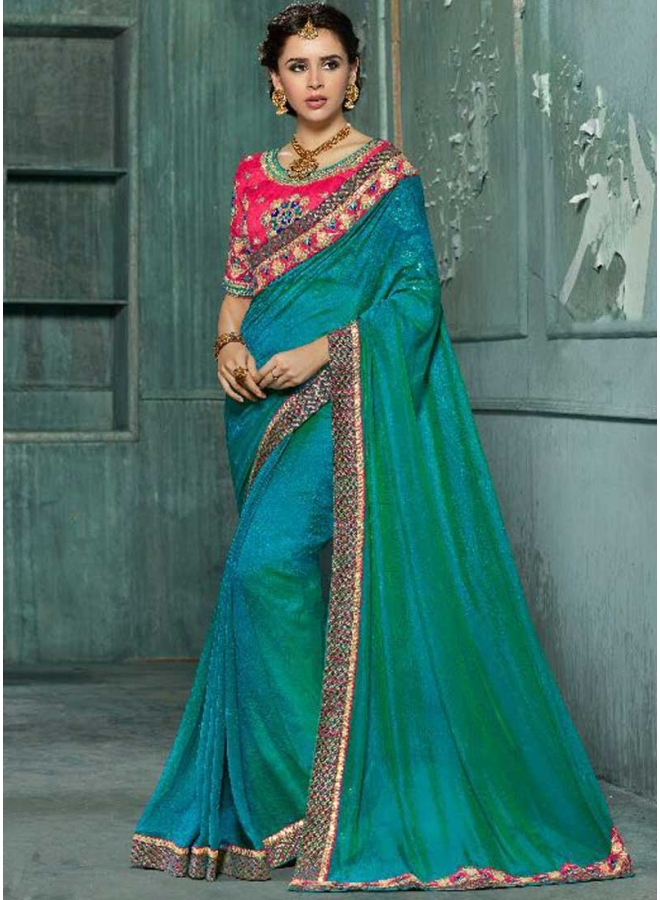 Dark Turquoise Embroidery Work Design Georgette  Fabric Party Wear Saree