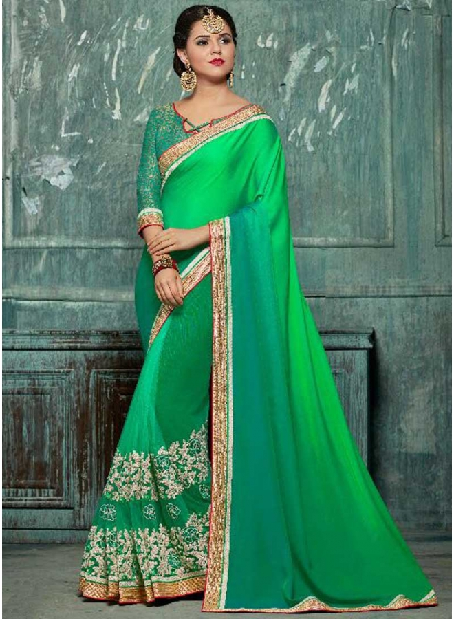 Green Multi Colour Embroidery Work Georgette Designer Party Wear Saree