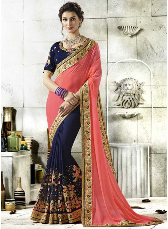 Peach Navy Blue Half And Half Embroidery Work Designer Georgette Sarees
