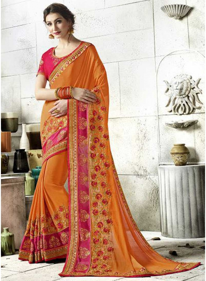 Orange Red Embroidery Work Rangoli Silk Desginer Fancy Saree