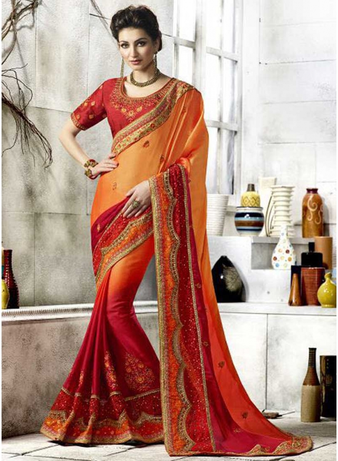 Orange Dark Red Half N Half Embroidery Work Weeding Look Designer Saree