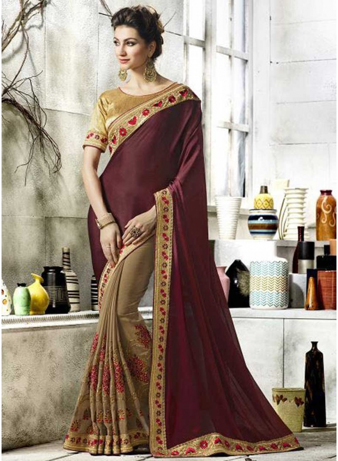 Dark Wine Chikku Half N Half Embroidery Work Festival Look Designer Saree
