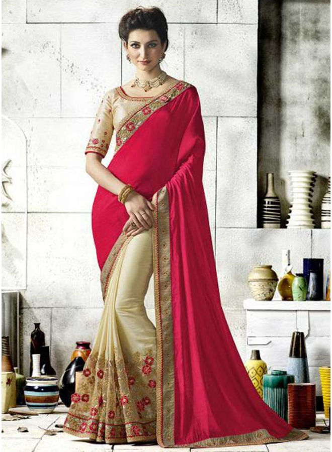 Off White Red Half N Half Embroidery Work Barfi Silk Desginer Party Wear saree