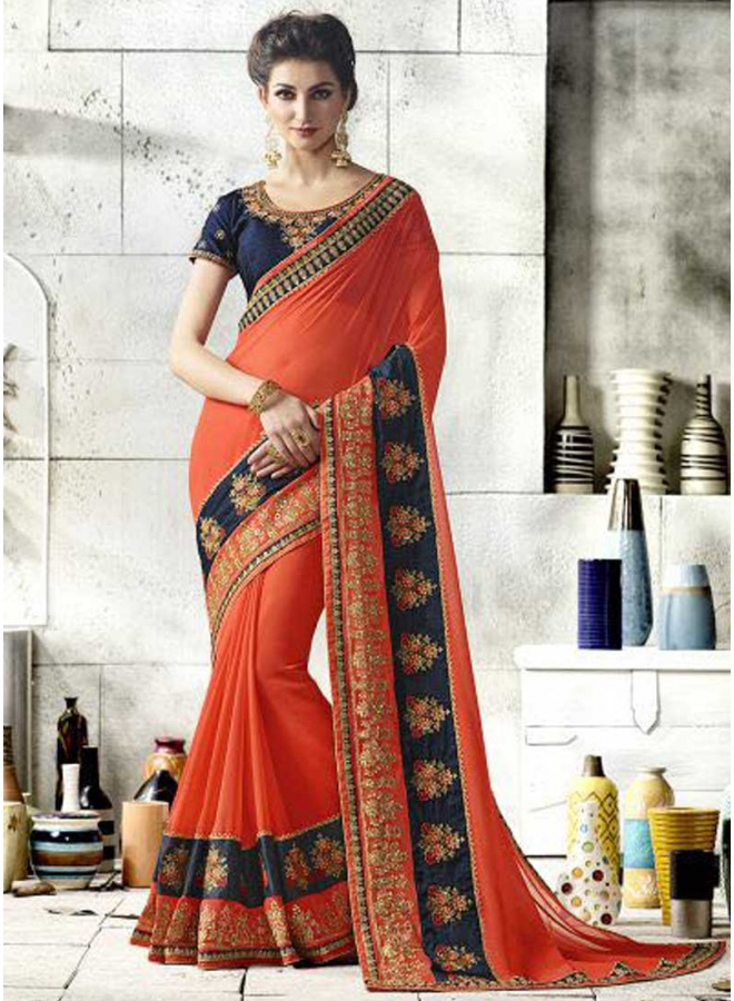 Dark Orange Blue Border Lace Work Fancy Georgette Designer Wedding Saree