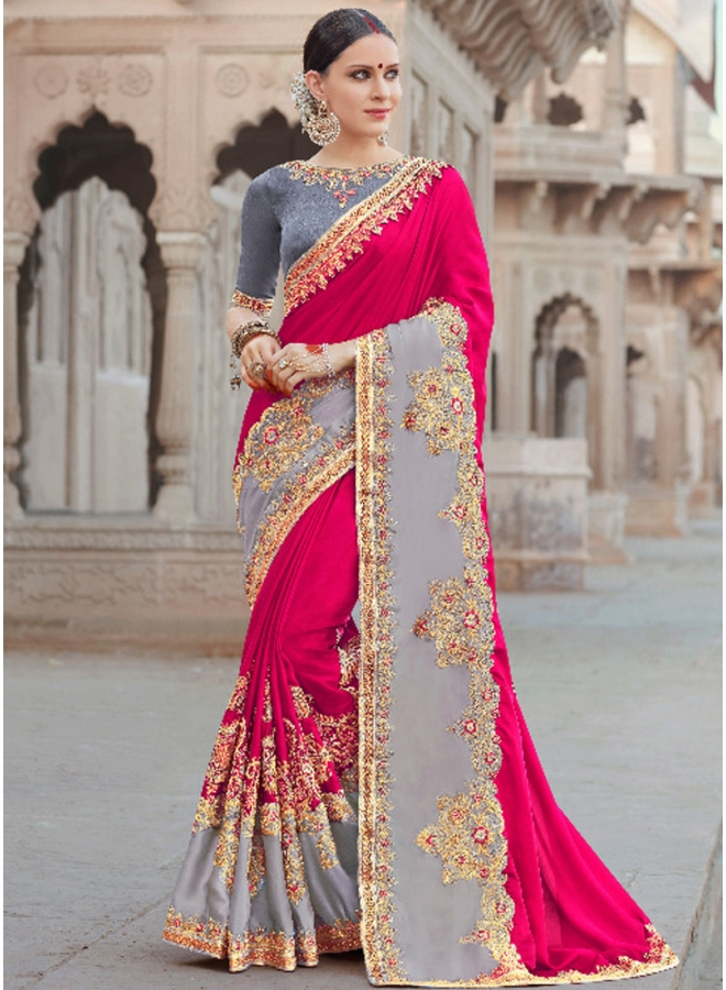 Pink Grey Embroidery Lace Border Work Georgette Designer Saree