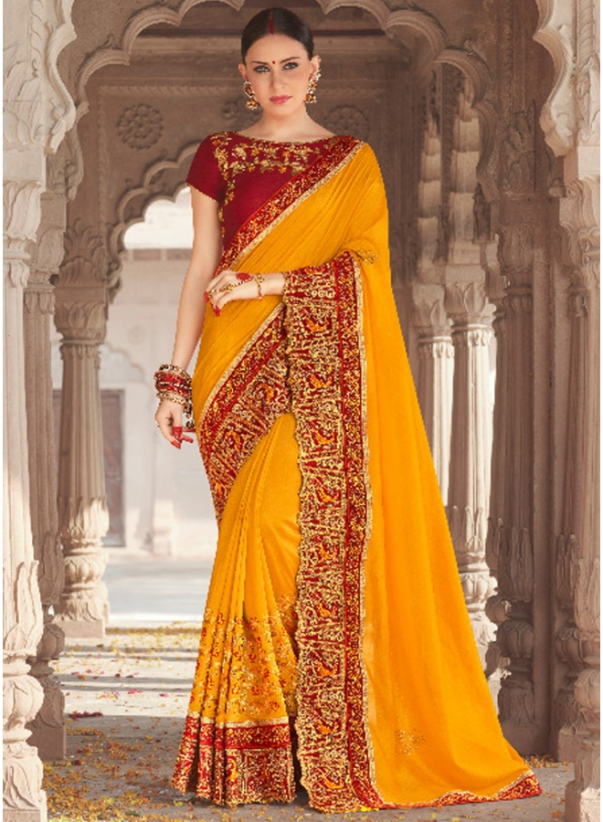 Mustard Heavy Embroidery Sequins Work Banglori Silk Wedding Sarees