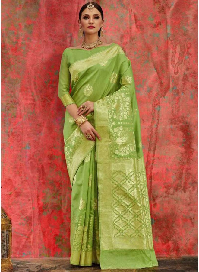 Parrot Box Printed N Flower Printed Designer Party Wear Saree
