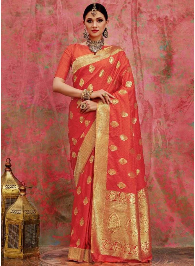 Tomato red Botti Printed N Waving Printed Designer Party Wear Saree