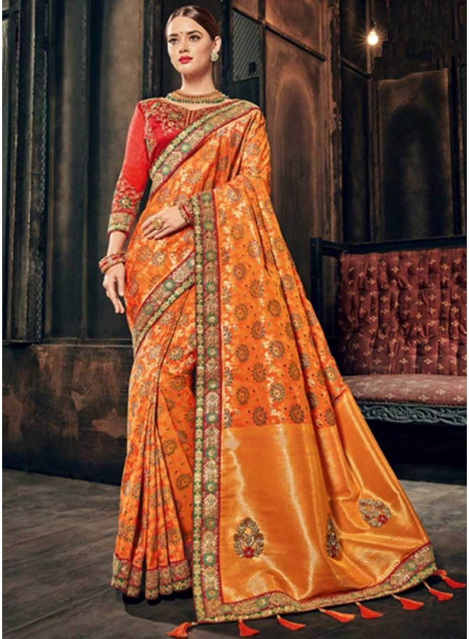 Mustard Embroidery Work N Flower Printed Designer Wedding Wear Saree