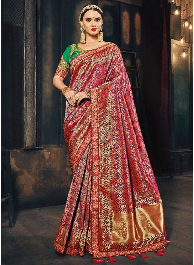 Dark Tomato Red Embroidery Work N Printed Designer Wedding Wear Saree