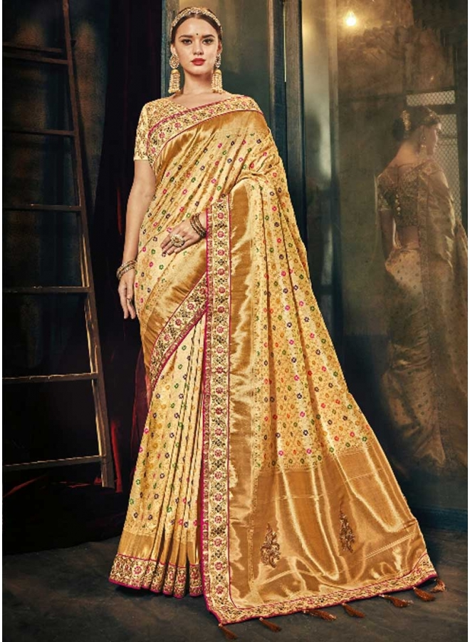 Gold Colour Embroidery Work N Botti Printed Designer Function Saree