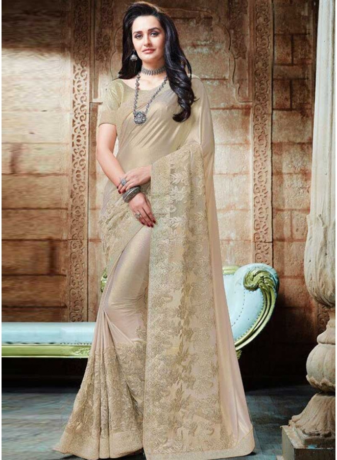 Off White N Cream Embroidery Work Shimmer Lycra Designer Party Wear Saree