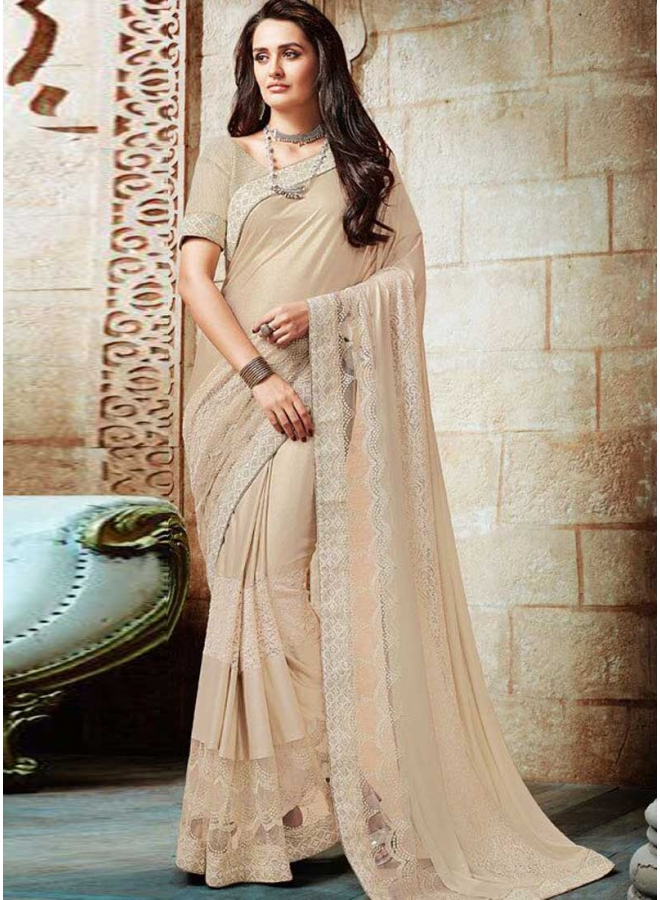 Cream Embroidery Work Shimmer Party Wear Saree