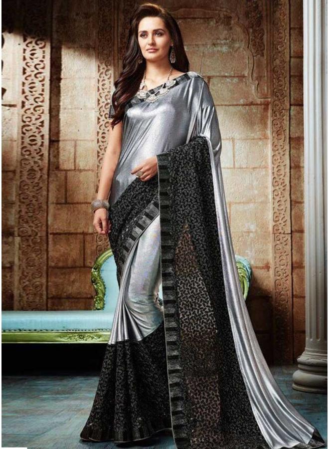 Grey Black Embroidery Thread Work Shimmer Lycra Designer Party Wear Saree