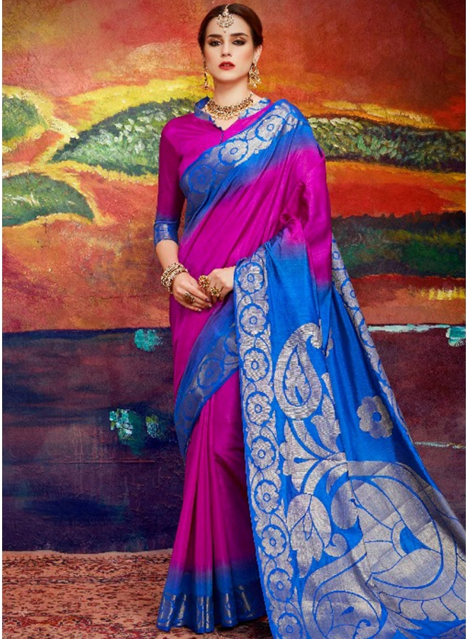 Wine N Blue Colour Shaded Printed Nylon Fabric Designer Saree