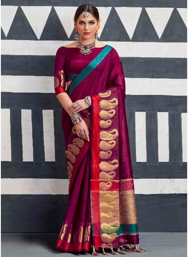 Wine Colour Kaleera Silk Khicha Pallu Printed Lace Border Designer Saree