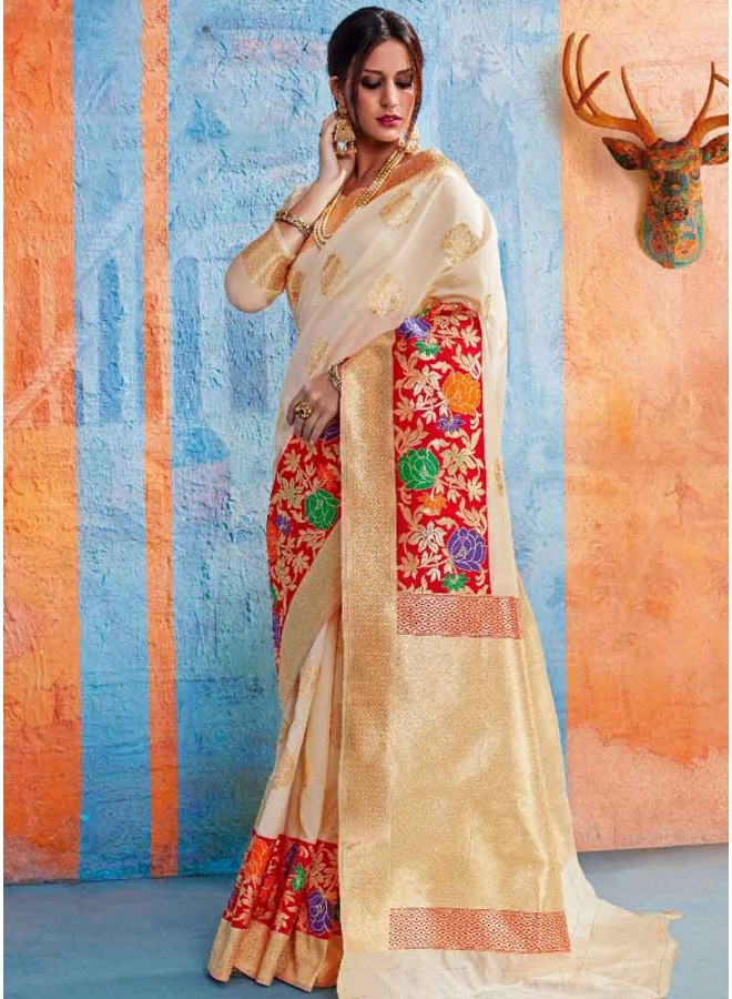 Cream Weaving Print Heavy Handloom Silk Designer Party Wear Saree