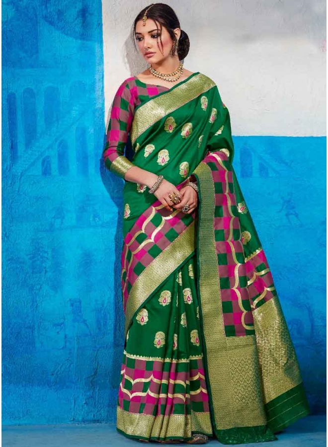Green Weaving Print Heavy Handloom Silk Designer Party Wear Saree