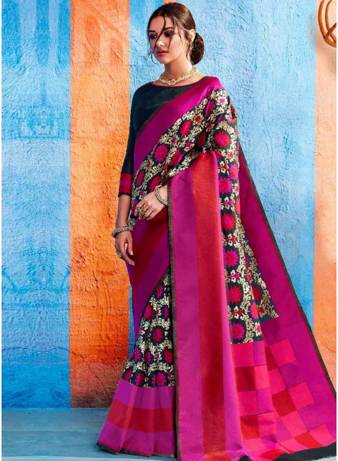 Magenta Weaving Print Heavy Handloom Silk Designer Party Wear Saree