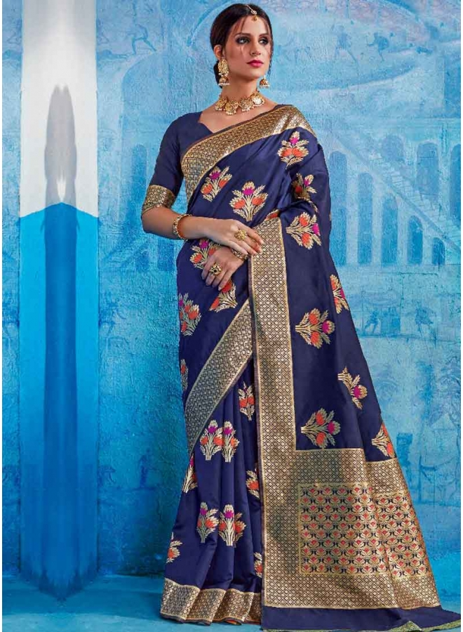 Navy Blue Weaving Print Handloom Silk Designer Wedding Wear Saree