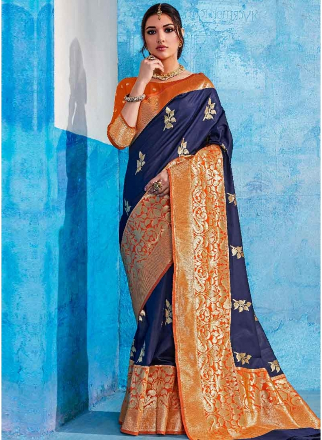 Navy Blue Weaving Print Heavy Handloom Silk Designer Party Wear Saree