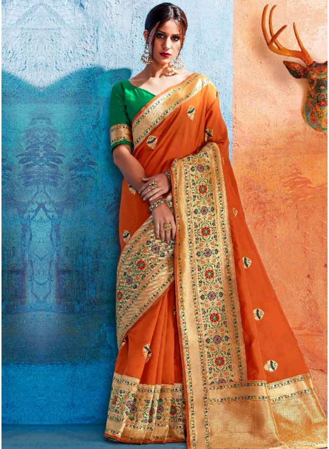 Orange Weaving Print Heavy Handloom Silk Designer Party Wear Saree