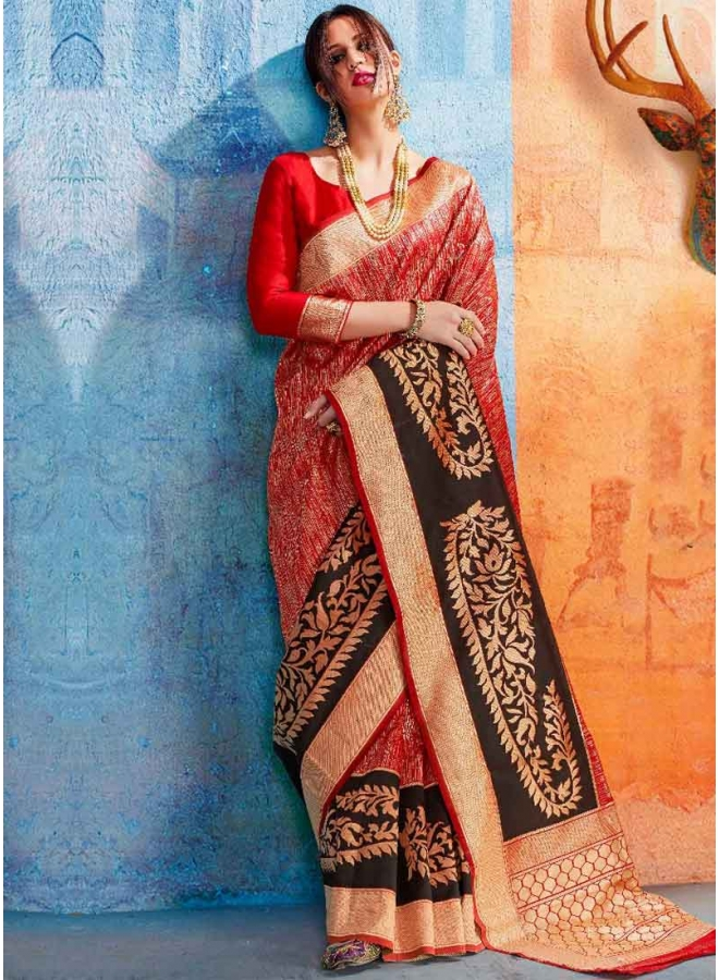 Red Weaving Print Heavy Handloom Silk Designer Party Wear Saree