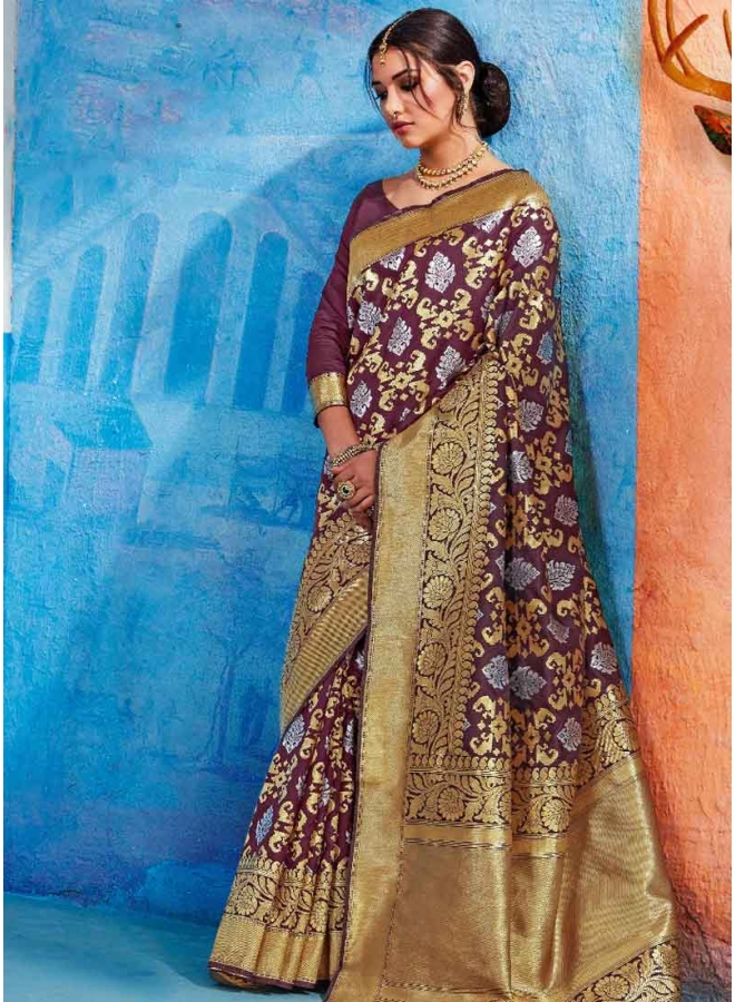 Wine Weaving Print Heavy Handloom Silk Designer Party Wear Saree
