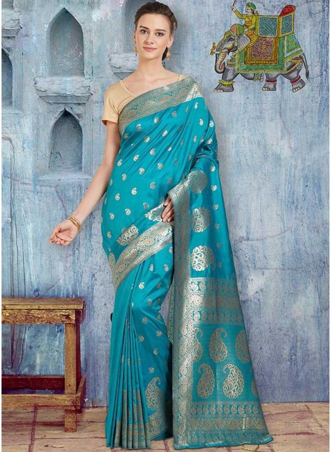 Teal Blue Mango Printed Banarasi Silk Party Wear Saree