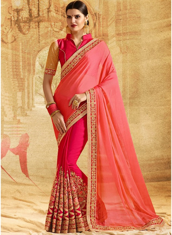 Beautiful Half Chiffon N Half Silk Georgette In Double Colour Embroidery Work Designer Saree
