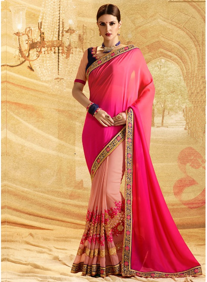 Beautiful Georgette In Double Colour Designer Embroidery Worked Party Wear Saree