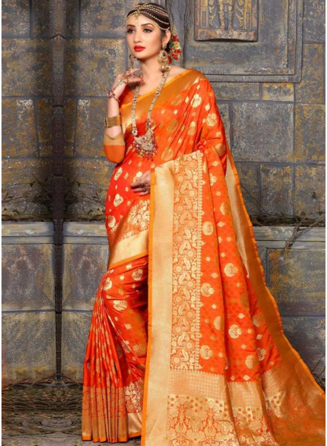 Orange Flower Print Lace Border Bhagalpuri Silk Fabric Wedding Saree