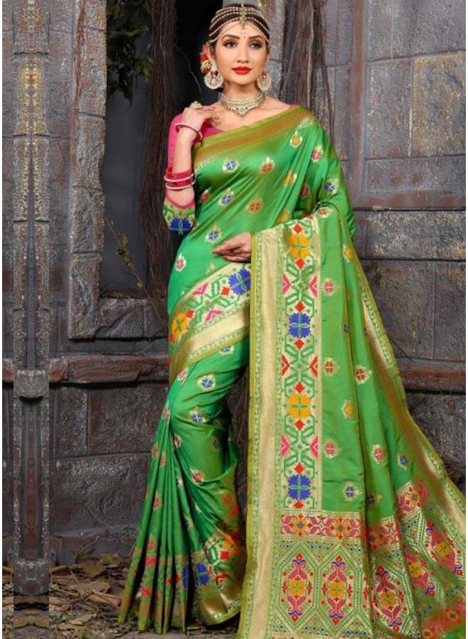 Parrot Flower Print Lace Border Bhagalpuri Silk Fabric Designer Saree
