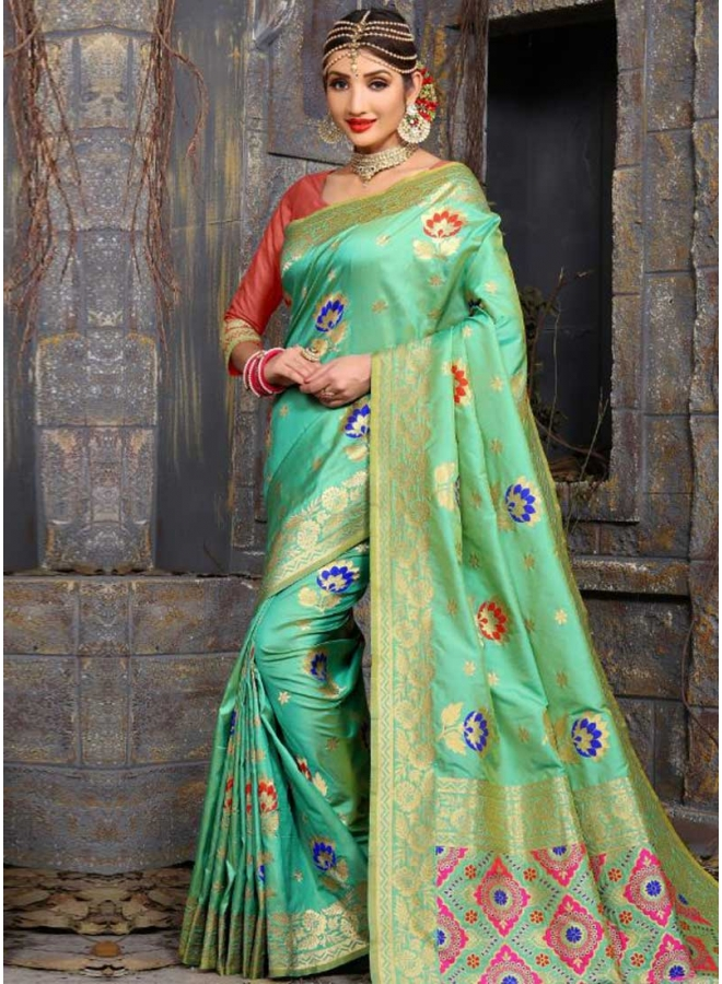 Sea Green Flower Print Lace Border Bhagalpuri Silk Fabric Designer Saree