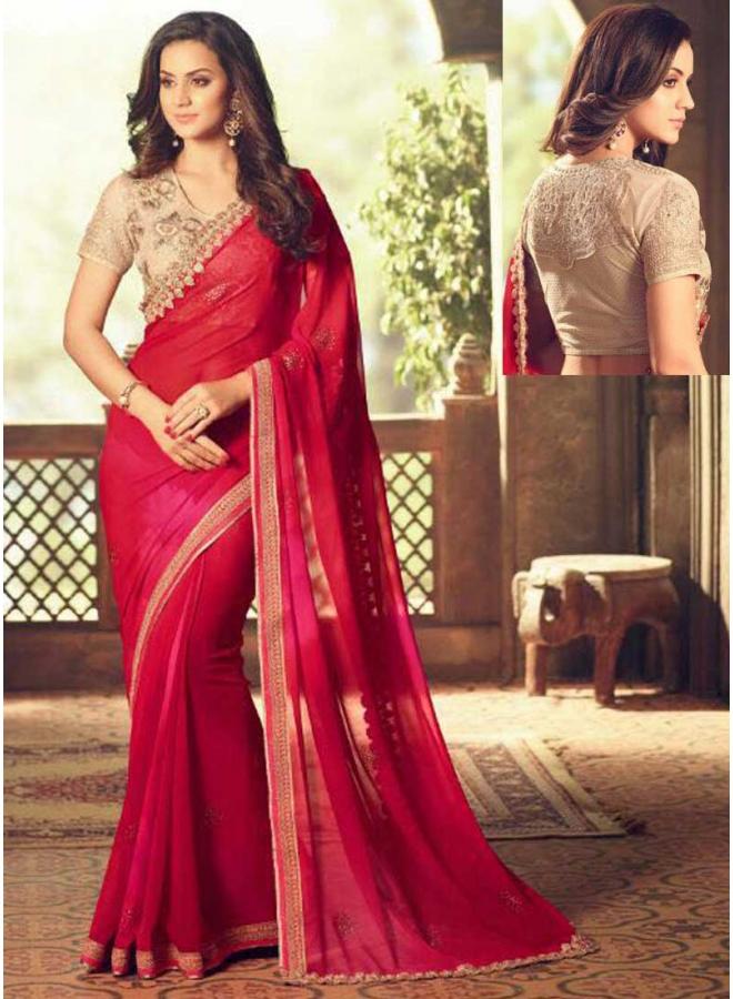 Dark Red Embroidery  Thread Work Designer Function Wear Saree