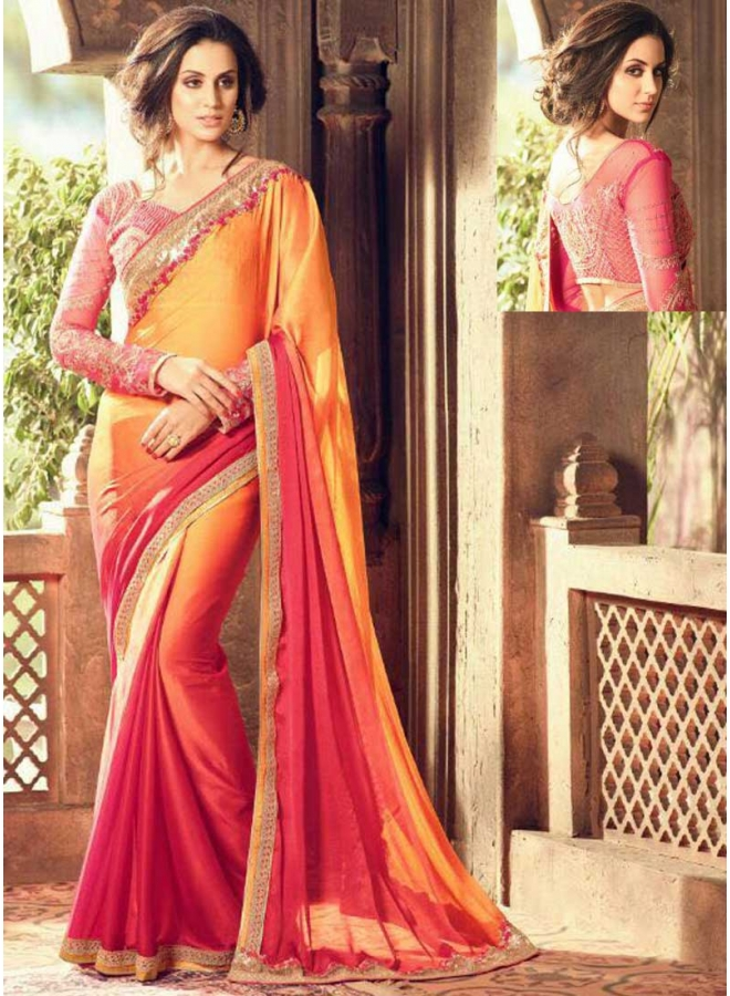 Red Orange Half N Half Embroidery Thread Work Designer Party Wear Saree