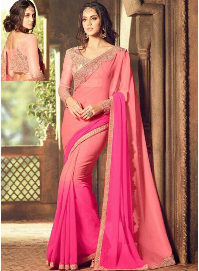 Pink Tomato Red Embroidery Lace Border Designer Party Wear Saree