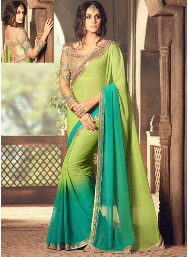 Turquoise Parrot Half N Half Embroidery Work  Georgette Designer Party Wear Saree