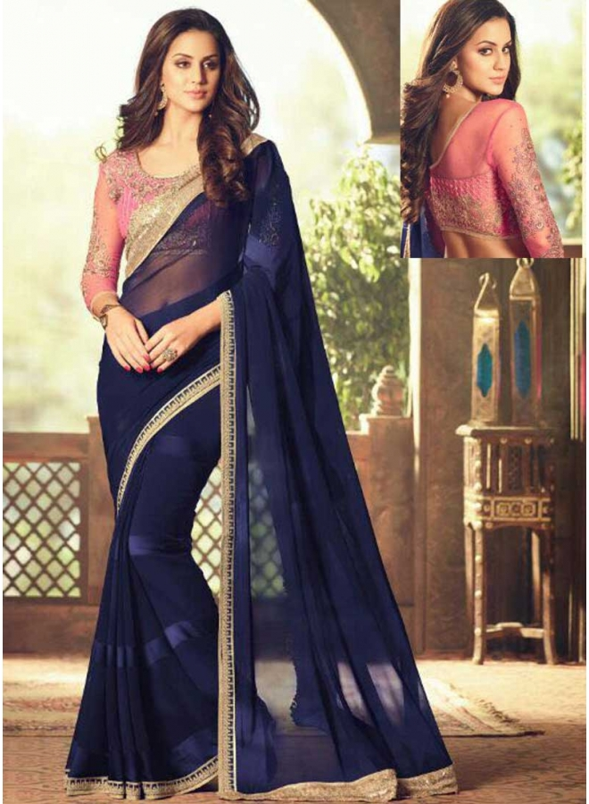 Navy Blue Pink Embroidery Thread Work Satin Georgette Designer Function Wear Saree