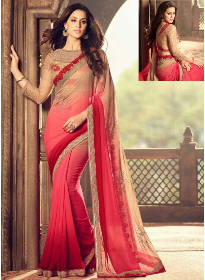 Tomato Red Chikku Half N Half Embroidery Work Lace Border Designer Party Wear Saree