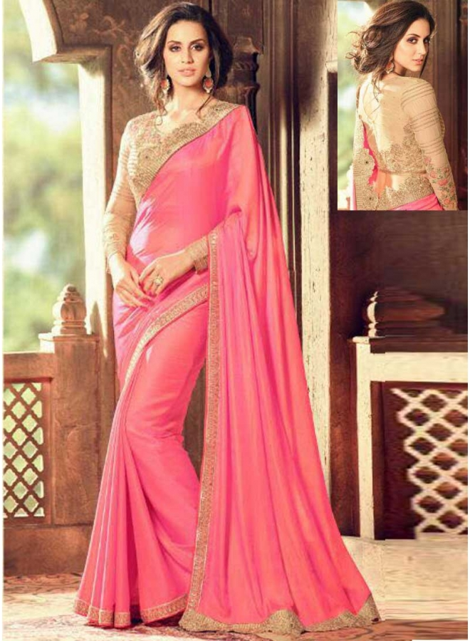 Hot Pink Cream Embroidery Work Cut Lace Border Designer Function Wear Saree