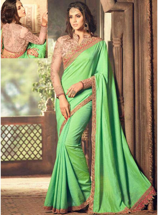 Parrot Green Peach Embroidery Work Lace Border Cut Work Designer Party Wear Saree