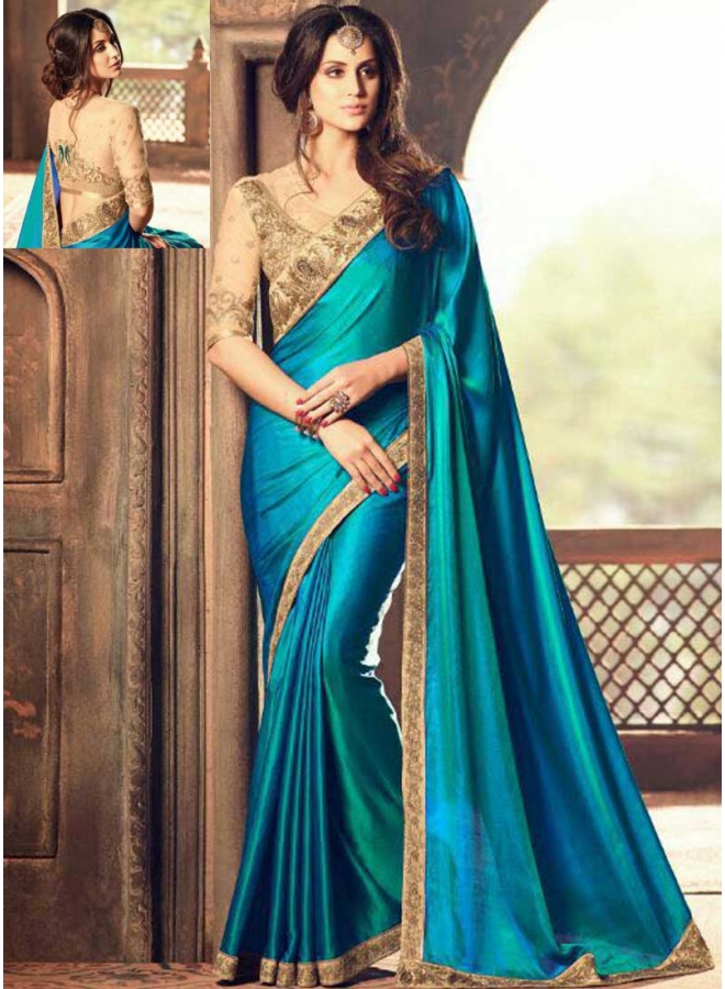 Dark Turquoise Cream Embroidery Multi Work Lace Border Designer Function Wear Saree