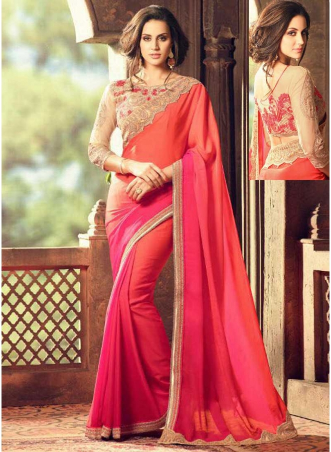 Tomato Red Orange Half N Half Embroidery Multi Work Lace Border Designer Party Wear Saree