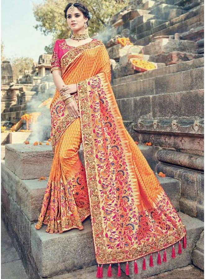 Dark Yellow Red Border Lace Work Pure Silk Flower Print Wedding Wear Saree